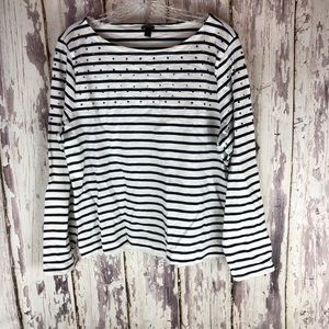 J Crew White Navy Stripe Bling Top Large